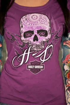 ladies harley davidson logos | Harley-Davidson – Womens Tattooed Skull Purple Long Sleeve T-Shirt ...