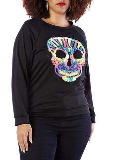 Plus-Size Skullicious Neon Top,BLACK,large