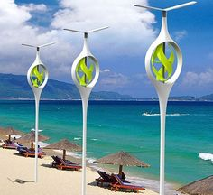 Sea and land breeze power the eco friendly Beach Lamp concept [Future Energy: http://futuristicnews.com/category/future-energy/ http://futuristicshop.com/category/solar_power/ Solar Panels: Wind Turbines: http://futuristicshop.com/category/wind-power/]