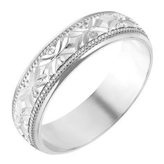 A stylish alternative to a plain wedding band. This 9ct white gold ladies