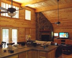 Knotty Pine Paneling - living room