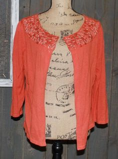 J.JILL Orange Floral Embroidered CROP cardigan Sweater Size M Linen & Cotton DD | Clothing, Shoes & Accessories, Women's Clothing, Sweaters | eBay!