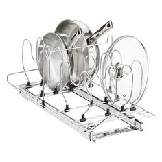 Lynk Chrome Pull-Out Cookware Organizer - The Container Store Pull Out Cabinet Drawers, Kitchen Cabinet Organization, Storage Cabinets, Kitchen Cabinets, Cabinet Organizers, Cabinet Space, Kitchen Storage, Food Storage, Pan Lid Holders