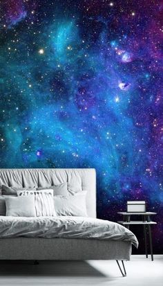 Step into outer space and admire the swirling blues and purples of the nebulas with our stunning Galaxy wallpaper. The beauty of nebula wallpapers is that they look fabulous in any type of room, but they especially look fantastic installed on a ceiling or behind your bed. These dark blue wallpapers add depth and create the illusion of more space within a home as their appearance seems endlessly vast. Get the look at Wallsauce.com! #spacedecor #spacebedroom #bedroominspo Nebula Wallpaper, Galaxy Wallpaper, Wall Wallpaper, Bedroom Wallpaper, Dark Blue Wallpaper, Blue Wallpapers, Nebulas, Galaxy Painting, Bedroom Ceiling