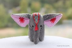 Felt Elephant Little December trends Winter gift ideas Christmas Indian elephant embroidery miniature felt decoration gray for her (32.00 USD) by RannyGifts