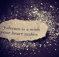 A dream is a wish, your heart makes. This would be a cute thing framed in the spare room for guests.