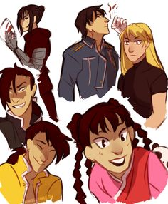 Top left to right: Lan Fan, Roy (Colonel) Mustang, Riza Hawkeye,Greedling,Ordinary Ling, May Chang