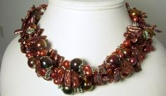 Bold Statement Necklace Maroon Bwia Pearl Indian by cctexan3, $56.00