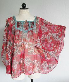 BAY STUDIO Red India Boho Hippie Semi Sheer Blouse Shirt PL
