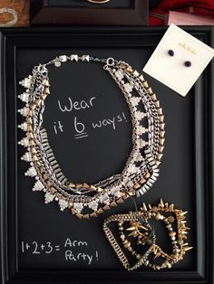 Don't have Stella Dot display trays? Try this DIY idea for your next trunk show: chalkboard paint on dollar store frames!