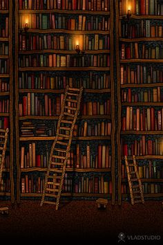 Night library Art Print by grebenyuk Library Art, Vintage Library, Vintage Books, Dream Library, Future Library, Beautiful Library, Cool Wallpapers For Ipad, Best Iphone Wallpapers, Book Wallpaper