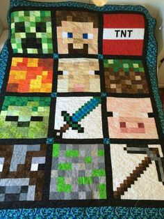 Minecraft quilt, need to find this pattern for Liam.I think my son would love this as he is all about Minecraft right now. Minecraft Quilt, Minecraft Room, Minecraft Crafts, Minecraft Party, Minecraft Furniture, Minecraft Skins, Minecraft Buildings, Minecraft Blanket, Minecraft Bedding