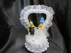 Marge and Homer Simpson in White Wedding Cake Topper by 1topper on Etsy