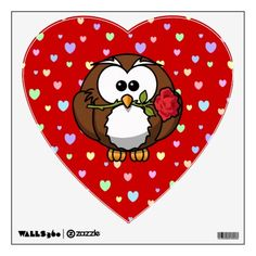 Valentine owl, cute wall decals.