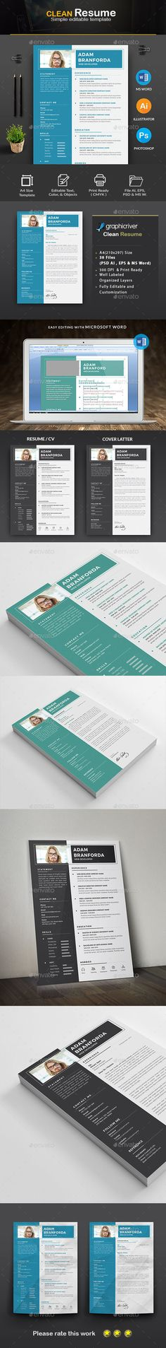 Resume by Createart PRODUCT FEATURES:A4 Paper Size Main 2 Page (Resume   Cover letter) 300 DPI