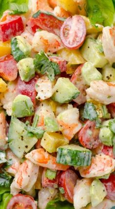 Greek Yogurt Shrimp, Avocado and Tomato Salad Made by . Ingredients 1 lb cooked frozen shrimp or 12 oz thawed & drained, cut in halves 1 cup grape. Shrimp Avocado Salad, Shrimp Salad Recipes, Tomato Salad Recipes, Avocado Salat, Avocado Recipes, Seafood Recipes, Cooking Recipes, Healthy Recipes, Healthy Drinks