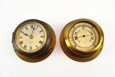 Antique H.HUGHES bulkhead barometer and clock yacht by ilkandco