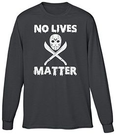 Blittzen Mens LS No Lives Matter - Jason Mask, M, Charcoal. 100% Preshrunk cotton. Design may appear smaller/larger based on sizing. Wash inside out with like colors in cold water. Hang to air dry or tumble dry on low heat. If you like the design check it out on other garments we offer by searching Amazon using the design part of the product title.
