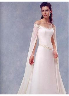 Stunning A-line Chiffon & Lace Off-the-shoulder Floor Length Wedding Dress With Sweep Train. #medieval #fae #elven