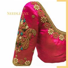 Most Stunning Wedding Blouse Designs for kanjeevaram silk sarees and pattu sarees with embroidery designed by Needle Eye boutique Wedding Saree Blouse Designs, Pattu Saree Blouse Designs, Fancy Blouse Designs, Blouse Neck Designs, Kurta Designs, Blouse Styles, Zardosi Work Blouse, Hand Work Blouse Design, Maggam Work Designs