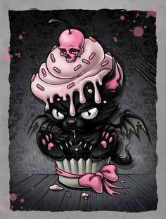 Coque iPhone 'Goth Kitty in Cupcake' par Spikeynator - cupcake desenho Art And Illustration, Fantasy Kunst, Fantasy Art, Dark Fantasy, Gothic Kunst, Pink And Black Wallpaper, Cupcake Tattoos, Cartoon Kunst, Cat Cupcakes