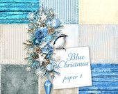 Blue Christmas Paper set 1 ONLY - Digital Scrapbooking