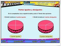 """Las fracciones: """"Partes iguales y desiguales"""" (Aplicación interactiva de Matemáticas de Primaria) Map, Maths Area, Teaching Resources, Fractions, Parts Of The Mass, Teachers, Location Map, Maps"""