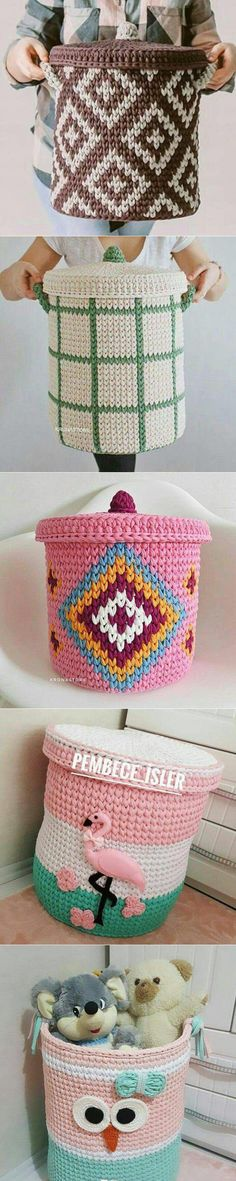 This Pin was discovered by Ros Crochet Bowl, Knit Crochet, Crochet Hats, Crochet Baskets, Crochet Decoration, Crochet Home Decor, Knitting Projects, Crochet Projects, Crochet Storage