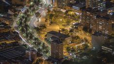 Fotografia de Larga Exposición del parque de los periodistas en Bogotá, hecha desde el cerro de Monserrate.