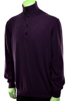 Men Enzo Mantovani Purple 4 Button Mock Collar Sweater Suede Elbow Patches Sz L #EnzoMantovani #4ButtonMockCollar