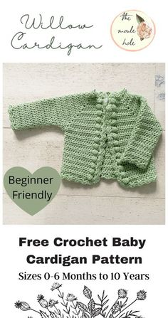 Cute Crochet Baby Cardigan- Free Pattern – The Moule Hole Crochet Baby Cardigan Free Pattern, Crochet Baby Sweaters, Baby Sweater Patterns, Crochet Baby Boots, Baby Girl Sweaters, Baby Girl Crochet, Crochet Baby Clothes, Crochet For Kids, Baby Patterns