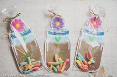 Mason jar flower party favors for gummy worms printable instant download treats by KudzuMonster