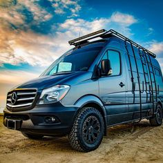 Need a roof rack for your Mercedes Sprinter high-roof camper van? Campervan HQ has the best roof racks for Mercedes Sprinter campervans. 4x4, Van Roof Racks, Mercedes Sprinter Camper, Benz Sprinter, Hymer, Sprinter Van Conversion, Conversion Van, Winch Bumpers, Day Van