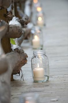 Mason Jar Aisle Idea lighting