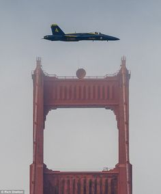Amateur photographer captures jaw-dropping picture of Blue Angels fighter jet swooping over the Golden Gate Bridge | Daily Mail Online
