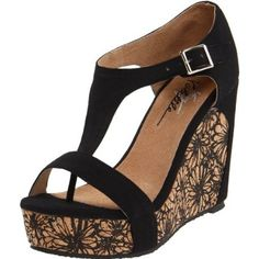Very Volatile Women`s Indio Wedge Sandal,Black,8 B US $53.99