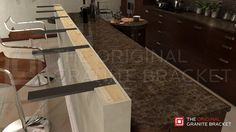 Bar brackets made in USA for countertop overhangs. Steel granite countertop supports make your countertop float. No corbels needed.
