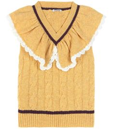 Miu Miu - Ruffled wool sweater vest - Miu Miu's sweater vest has been crafted in Italy from cosy wool. The uplifting yellow piece comes with white scalloped trims at the neckline and a cable knit finish for classic appeal. Channel the brand's runway styling and layer yours beneath a long overcoat. seen @ www.mytheresa.com