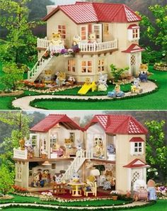 """Calico Critters Townhome by International Playthings. $89.95. Hours of creative, imaginative play time!. House measures 12"""" x 12"""" x 12"""". Details include lights that turn on and off, moveable staircase and extra floor area to create larger rooms.. Collect them all!. Four large rooms, and a room divider to create a fifth room, as well as being able to open and close the whole house for lots of pretend play fun!. Amazon.com                Give your children and their ..."""