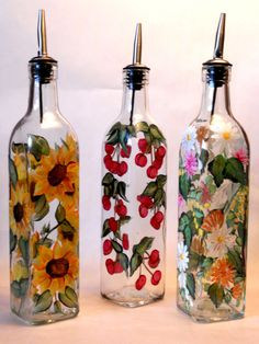 Hand+Painted+Olive+Oil+Bottle+in+Sunflowers+by+PaletteArtWorks,+$27.00