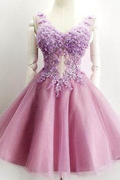V-Neck Sleeveless Homecoming Dress,Homecoming Dresses,Appliques Tulle Homecoming Dress