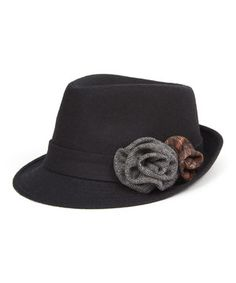 Love this Black Rosette Wool Fedora by Magid on #zulily! #zulilyfinds