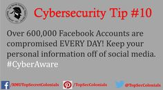 Over 600,000 Facebook Accounts are compromised EVERY DAY! Keep your personal information off of social media. #CyberAware