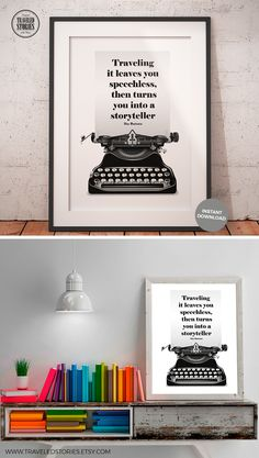 """""""Traveling it leaves you speechless, then turns you into a storyteller"""" an inspirational quote by Ibn Battuta. Wall art print in a minimalist design, looking for inspiration and courage to achieve your next adventure? This travel quote poster will help you. Follow your passion, there is a whole world out there that is waiting to be explored. Traveling Quote Printable Ibn Battuta, Travel Wall Art, Wanderlust Poster, Travel Home Decor, Minimalist Typewriter Illustration, Gift Idea"""