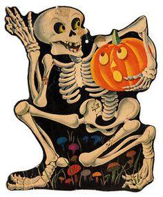 Skeleton Carrying Jack OLantern Vintage Halloween Cardboard Die Cut Decoration