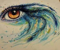 This is absolutely a beautiful painting and possibly a new tattoo/ feather tattoo / eye tattoo/ watercolor inspired tattoo