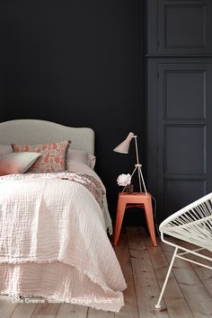Basalt Dark Blue Bedroom By Little Greene Paint Company. Grey Bedroom Colors, Pink Bedroom Decor, Gray Bedroom, Bedroom Ideas, Peach Bedroom, Pretty Bedroom, Pantone, Ok Design, Design Ideas