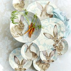 Brighten springtime celebrations with stoneware dinner plates featuring a playful woodland bunny. For a traditional touch of elegance, we've set the bunny against a pale blue floral backdrop that re-creates the look of damask textiles. Easter Sale, Easter Bunny, Easter Eggs, Williams Sonoma, Presidents Day Sale, Floral Backdrop, Easter Crafts, Easter Ideas, Bunny Crafts