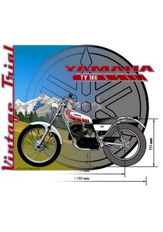 Moto trial vintage Yamaha 125, Vintage, Motorbikes, Funny Drawings, Vintage Comics