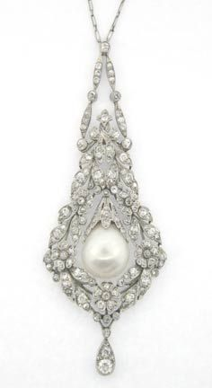 Diamond & natural pearl pendant c. 1910 - worn by Edith Bouvier Beale (Big Edie - Grey Gardens)